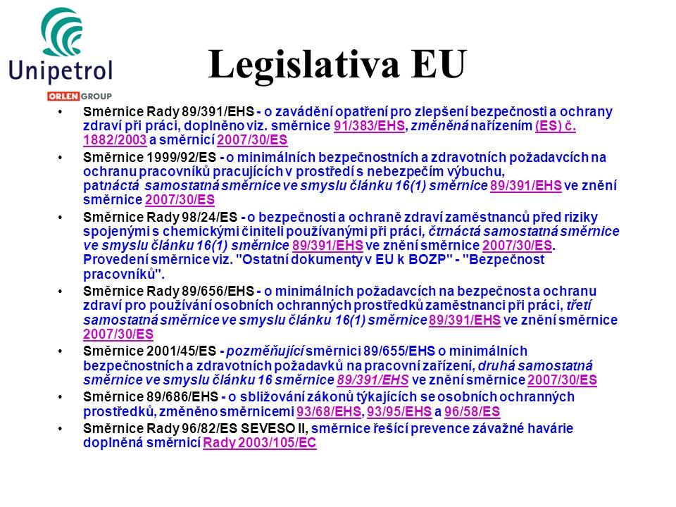 Implementace legislativou v ČR Směrnice Rady 89/391/EHS - o zavádění opatření pro zlepšení bezpečnosti a ochrany zdraví při práci, Směrnice 1999/92/ES - o minimálních bezpečnostních a zdravotních požadavcích na ochranu pracovníků pracujících v prostředí s nebezpečím výbuchu Směrnice Rady 98/24/ES - o bezpečnosti a ochraně zdraví zaměstnanců před riziky spojenými s chemickými činiteli Směrnice Rady 89/656/EHS - o minimálních požadavcích na bezpečnost a ochranu zdraví pro používání osobních ochranných prostředků Směrnice 2001/45/ES - pozměňující směrnici 89/655/EHS o minimálních bezpečnostních a zdravotních požadavků na pracovní zařízení Směrnice 89/686/EHS - o sbližování zákonů týkajících se osobních ochranných prostředků, změněno směrnicemi Směrnice Rady 96/82/ES SEVESO II, směrnice řešící prevence závažné havárie ZP č.262/2006 Sb.