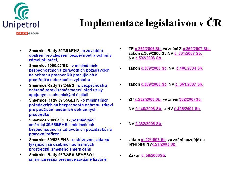 Implementace legislativou v ČR Směrnice Rady 89/391/EHS - o zavádění opatření pro zlepšení bezpečnosti a ochrany zdraví při práci, Směrnice 1999/92/ES