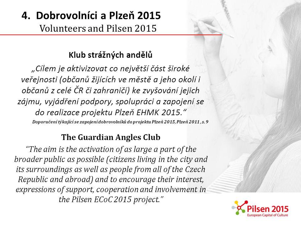 Klub strážných andělů Cílem je aktivizovat co největší část široké veřejnosti (občanů žijících ve městě a jeho okolí i občanů z celé ČR či zahraničí) ke zvyšování jejich zájmu, vyjádření podpory, spolupráci a zapojení se do realizace projektu Plzeň EHMK 2015.
