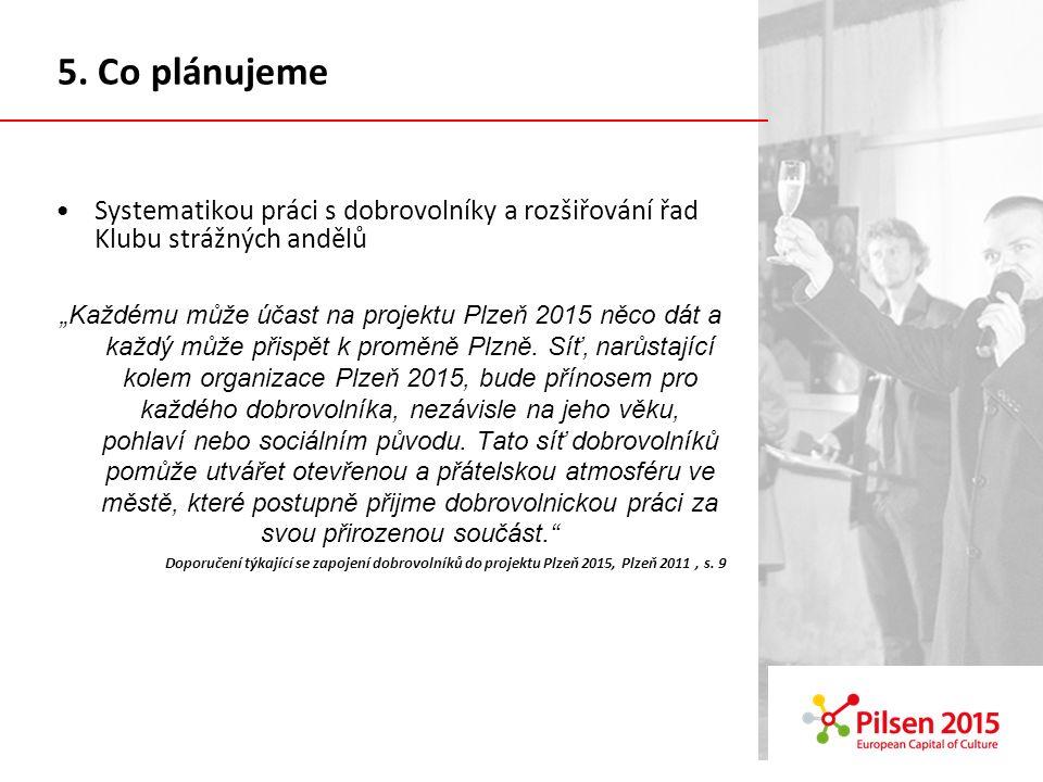 Systematikou práci s dobrovolníky a rozšiřování řad Klubu strážných andělů Každému může účast na projektu Plzeň 2015 něco dát a každý může přispět k proměně Plzně.