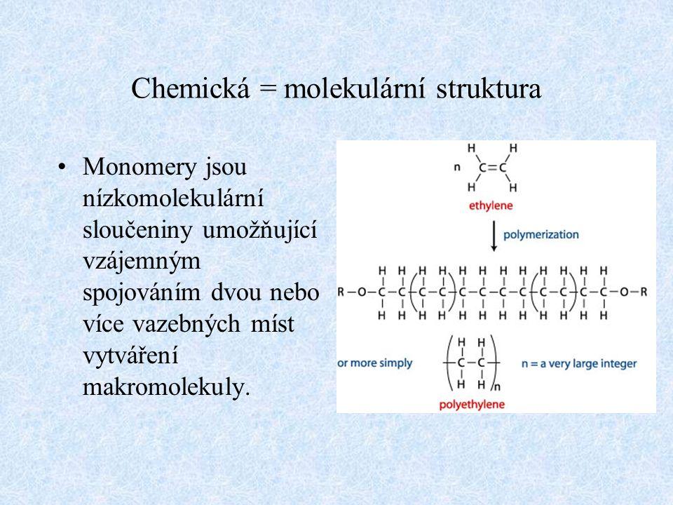 Chemická = molekulární struktura Monomery jsou nízkomolekulární sloučeniny umožňující vzájemným spojováním dvou nebo více vazebných míst vytváření mak