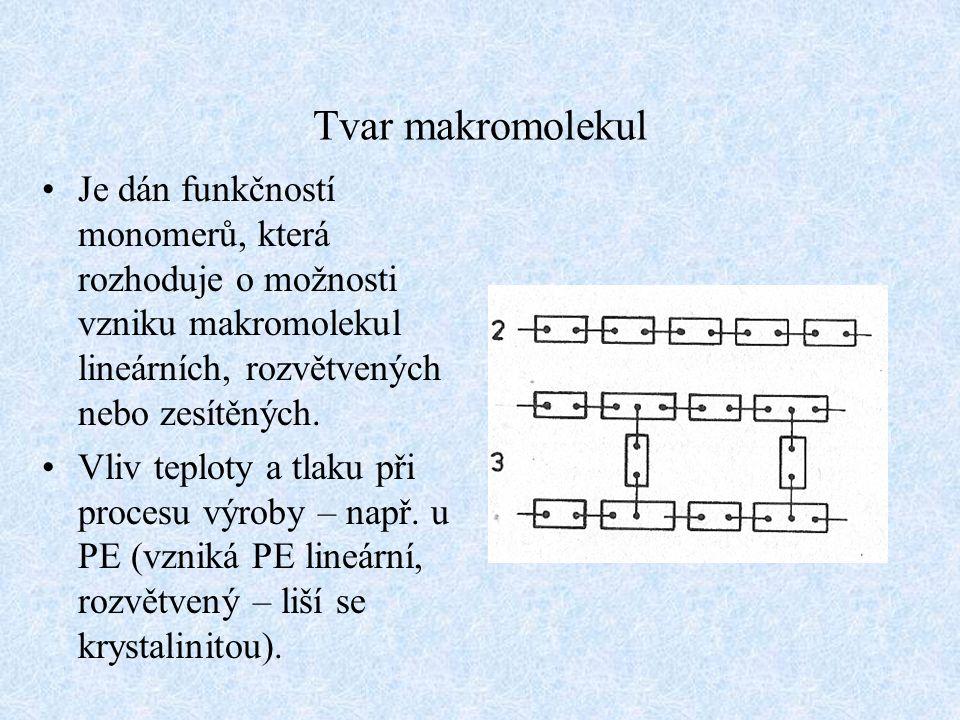 Tvar makromolekul Je dán funkčností monomerů, která rozhoduje o možnosti vzniku makromolekul lineárních, rozvětvených nebo zesítěných. Vliv teploty a