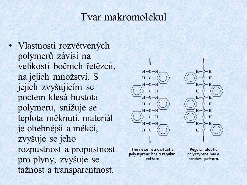 Tvar makromolekul Vlastnosti rozvětvených polymerů závisí na velikosti bočních řetězců, na jejich množství. S jejich zvyšujícím se počtem klesá hustot