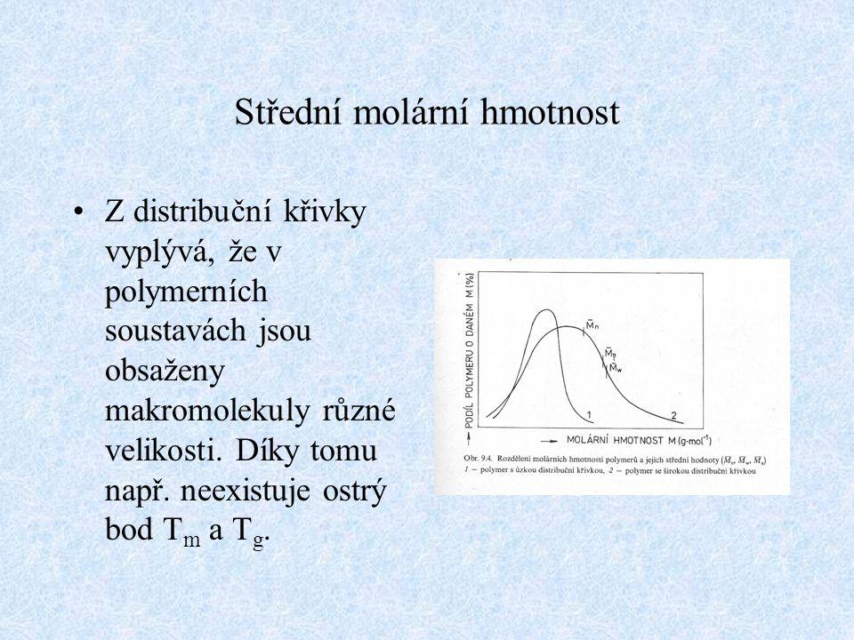 Střední molární hmotnost Z distribuční křivky vyplývá, že v polymerních soustavách jsou obsaženy makromolekuly různé velikosti. Díky tomu např. neexis