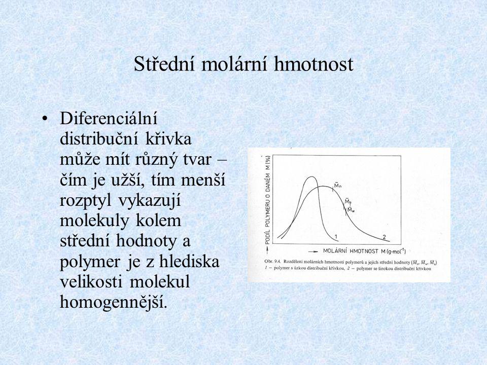 Střední molární hmotnost Diferenciální distribuční křivka může mít různý tvar – čím je užší, tím menší rozptyl vykazují molekuly kolem střední hodnoty