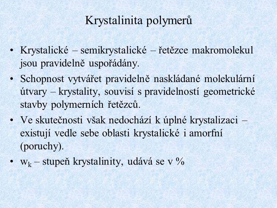Krystalinita polymerů Krystalické – semikrystalické – řetězce makromolekul jsou pravidelně uspořádány. Schopnost vytvářet pravidelně naskládané moleku