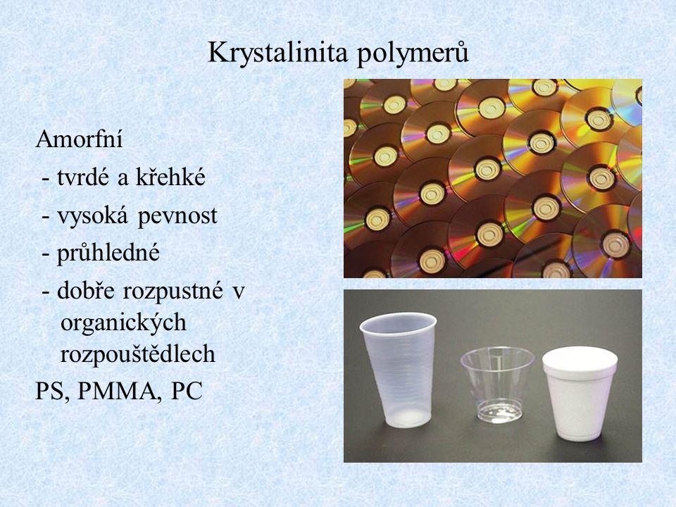 Krystalinita polymerů Amorfní - tvrdé a křehké - vysoká pevnost - průhledné - dobře rozpustné v organických rozpouštědlech PS, PMMA, PC