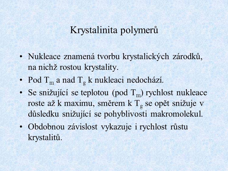 Krystalinita polymerů Nukleace znamená tvorbu krystalických zárodků, na nichž rostou krystality. Pod T m a nad T g k nukleaci nedochází. Se snižující