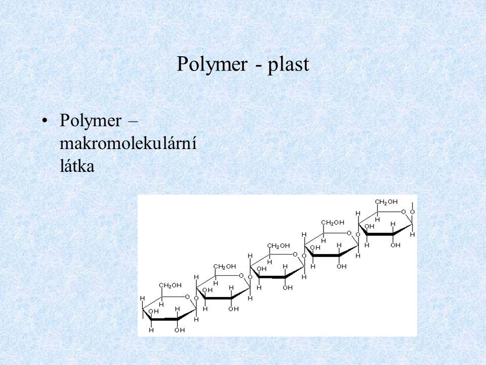 Polymer - plast Plast – polymer, maziva, stabilizátory, pigmenty, plniva, atd.