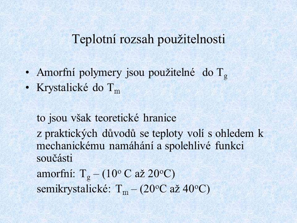 Teplotní rozsah použitelnosti Amorfní polymery jsou použitelné do T g Krystalické do T m to jsou však teoretické hranice z praktických důvodů se teplo