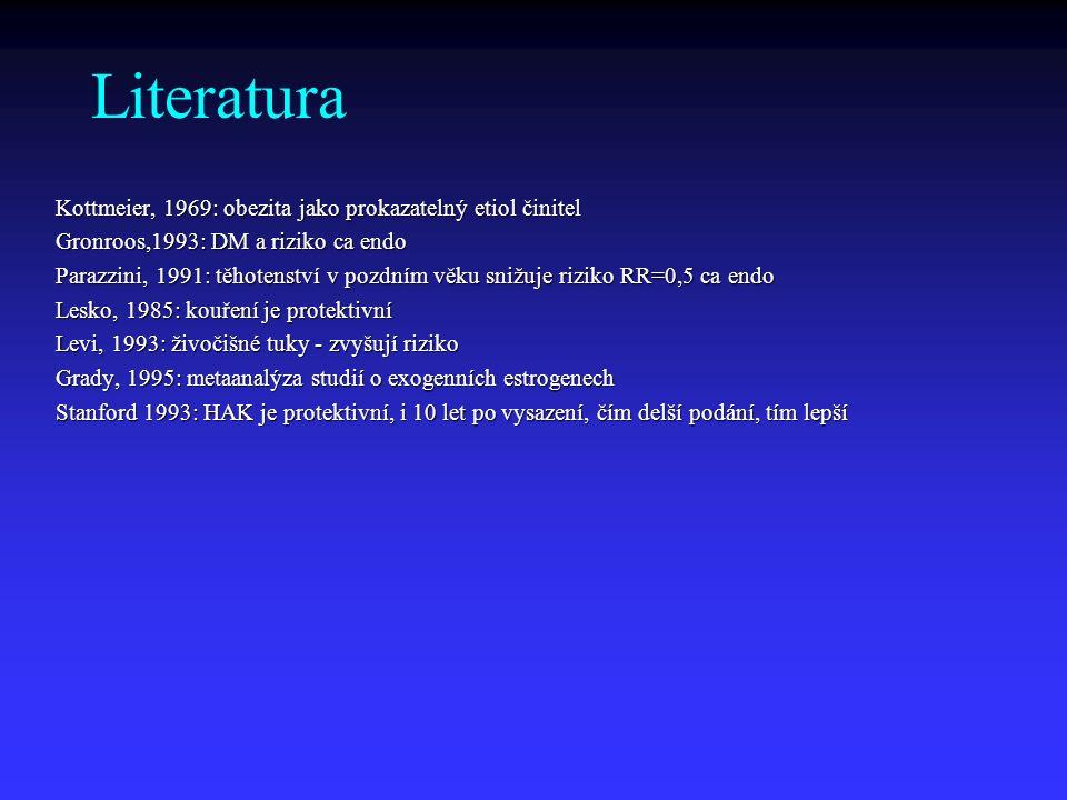 Literatura Kottmeier, 1969: obezita jako prokazatelný etiol činitel Gronroos,1993: DM a riziko ca endo Parazzini, 1991: těhotenství v pozdním věku sni