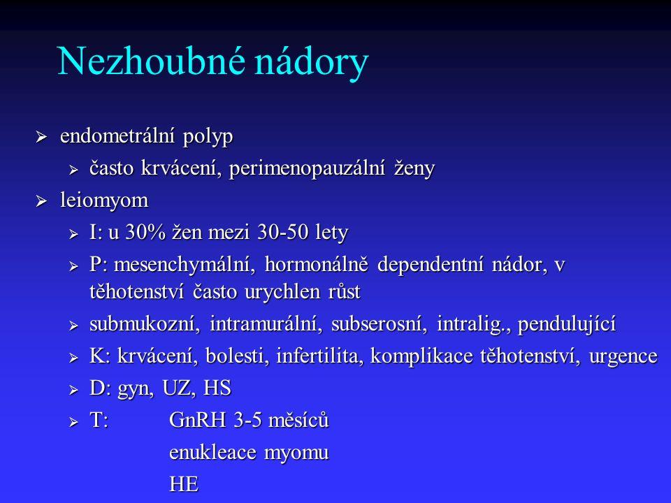 Prekancerózy hyperplázie hyperplázie simplexní: u premenopauzálních, anovulační cykly, nízká malig simplexní: u premenopauzálních, anovulační cykly, nízká malig komplexní: peri a postmenop., má maligní potenciál (3-27 %) komplexní: peri a postmenop., má maligní potenciál (3-27 %) atypická: vysoké riziko malig.