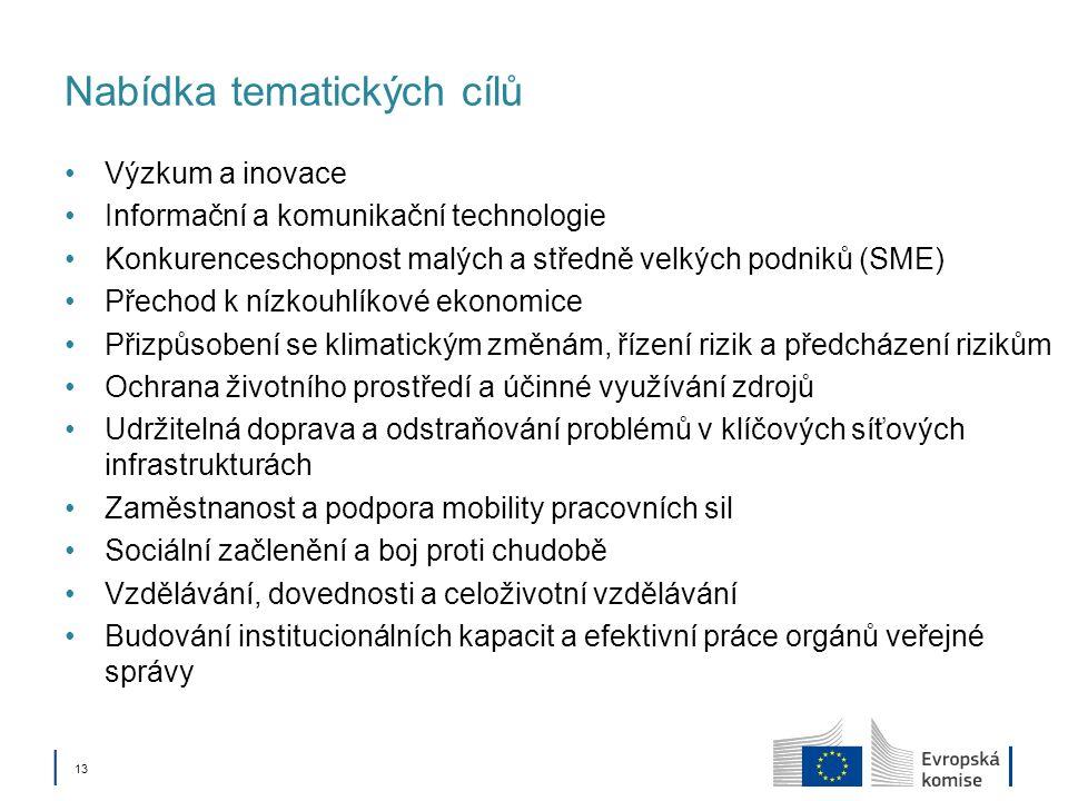 13 Nabídka tematických cílů Výzkum a inovace Informační a komunikační technologie Konkurenceschopnost malých a středně velkých podniků (SME) Přechod k nízkouhlíkové ekonomice Přizpůsobení se klimatickým změnám, řízení rizik a předcházení rizikům Ochrana životního prostředí a účinné využívání zdrojů Udržitelná doprava a odstraňování problémů v klíčových síťových infrastrukturách Zaměstnanost a podpora mobility pracovních sil Sociální začlenění a boj proti chudobě Vzdělávání, dovednosti a celoživotní vzdělávání Budování institucionálních kapacit a efektivní práce orgánů veřejné správy