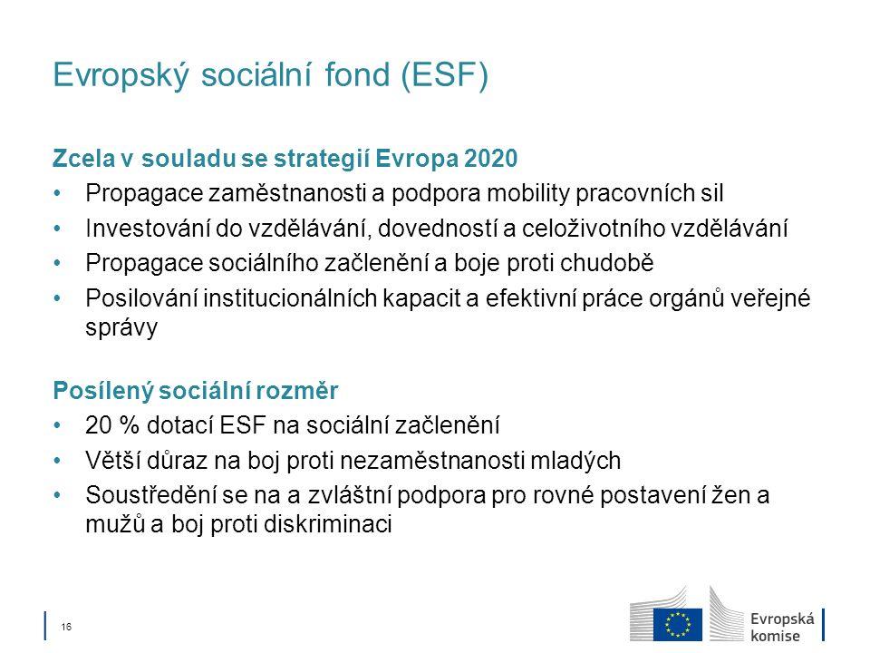 16 Evropský sociální fond (ESF) Zcela v souladu se strategií Evropa 2020 Propagace zaměstnanosti a podpora mobility pracovních sil Investování do vzdělávání, dovedností a celoživotního vzdělávání Propagace sociálního začlenění a boje proti chudobě Posilování institucionálních kapacit a efektivní práce orgánů veřejné správy Posílený sociální rozměr 20 % dotací ESF na sociální začlenění Větší důraz na boj proti nezaměstnanosti mladých Soustředění se na a zvláštní podpora pro rovné postavení žen a mužů a boj proti diskriminaci
