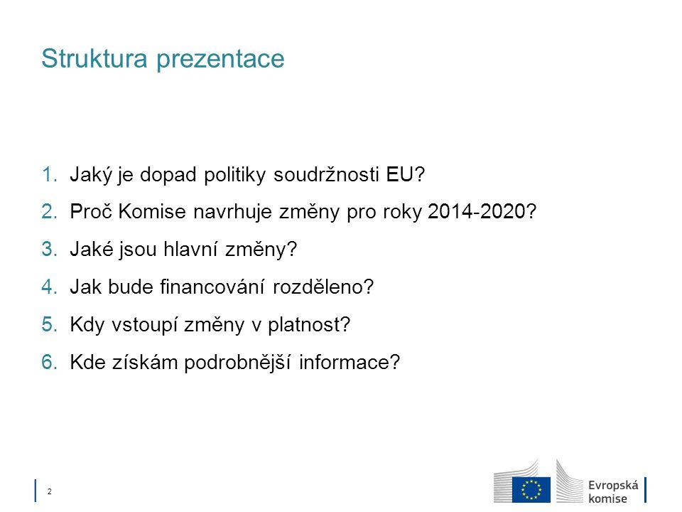 Politika soudržnosti 4. Jak bude financování rozděleno?