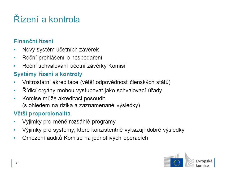 21 Řízení a kontrola Finanční řízení Nový systém účetních závěrek Roční prohlášení o hospodaření Roční schvalování účetní závěrky Komisí Systémy řízení a kontroly Vnitrostátní akreditace (větší odpovědnost členských států) Řídicí orgány mohou vystupovat jako schvalovací úřady Komise může akreditaci posoudit (s ohledem na rizika a zaznamenané výsledky) Větší proporcionalita Výjimky pro méně rozsáhlé programy Výjimky pro systémy, které konzistentně vykazují dobré výsledky Omezení auditů Komise na jednotlivých operacích
