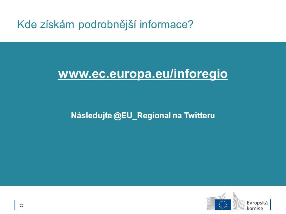 28 Kde získám podrobnější informace? Následujte @EU_Regional na Twitteru www.ec.europa.eu/inforegio
