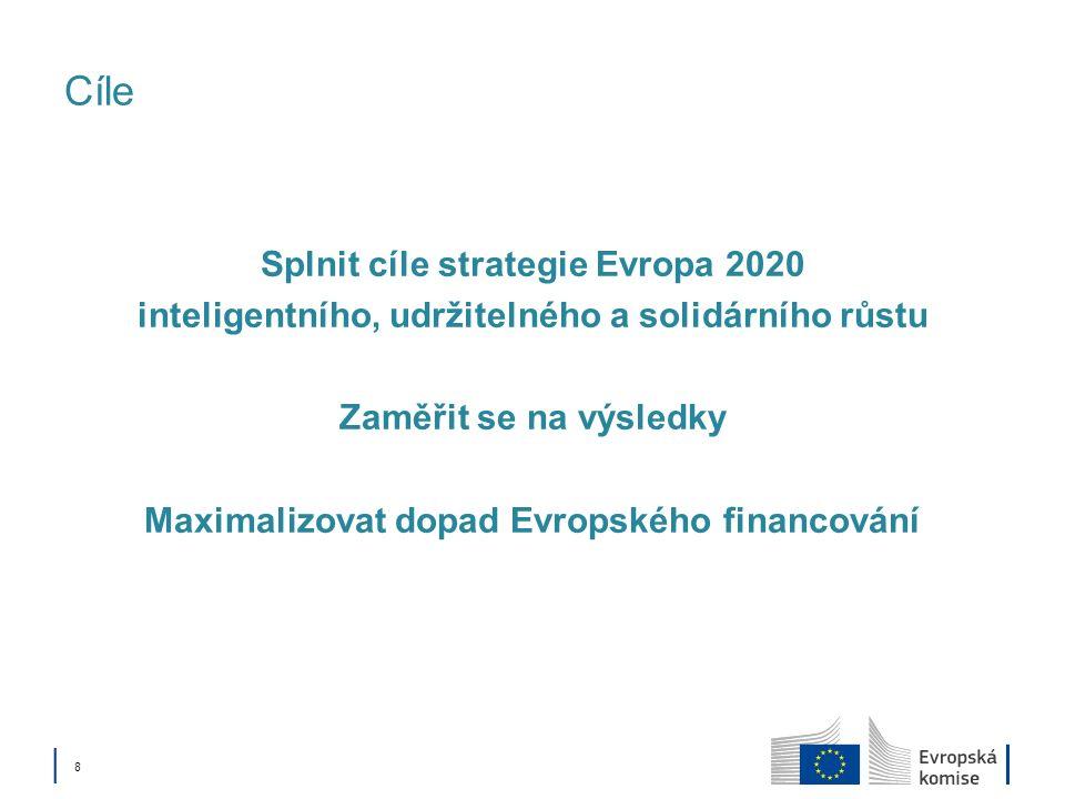 8 Cíle Splnit cíle strategie Evropa 2020 inteligentního, udržitelného a solidárního růstu Zaměřit se na výsledky Maximalizovat dopad Evropského financování