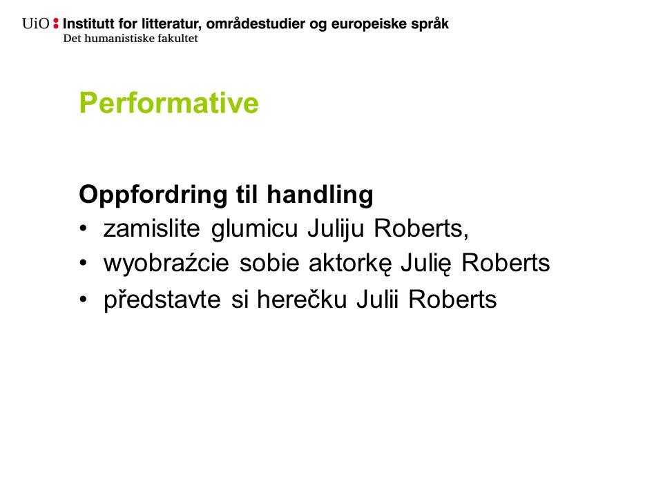 Performative Oppfordring til handling zamislite glumicu Juliju Roberts, wyobraźcie sobie aktorkę Julię Roberts představte si herečku Julii Roberts