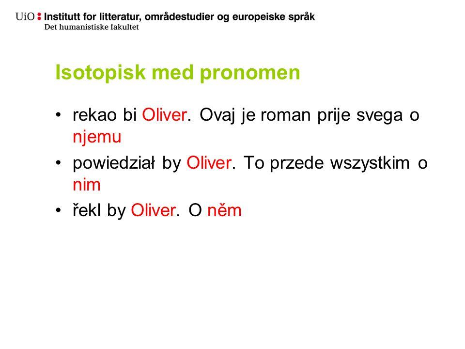 Isotopisk med pronomen rekao bi Oliver. Ovaj je roman prije svega o njemu powiedział by Oliver.