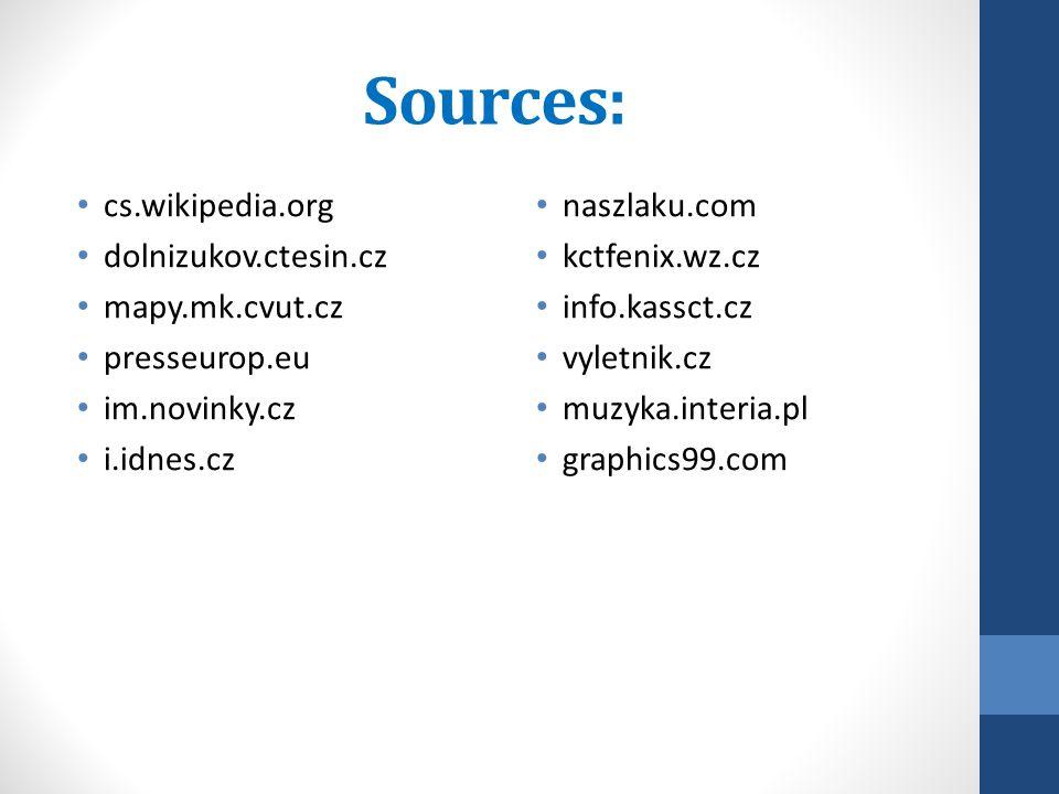 Sources: cs.wikipedia.org dolnizukov.ctesin.cz mapy.mk.cvut.cz presseurop.eu im.novinky.cz i.idnes.cz naszlaku.com kctfenix.wz.cz info.kassct.cz vyletnik.cz muzyka.interia.pl graphics99.com