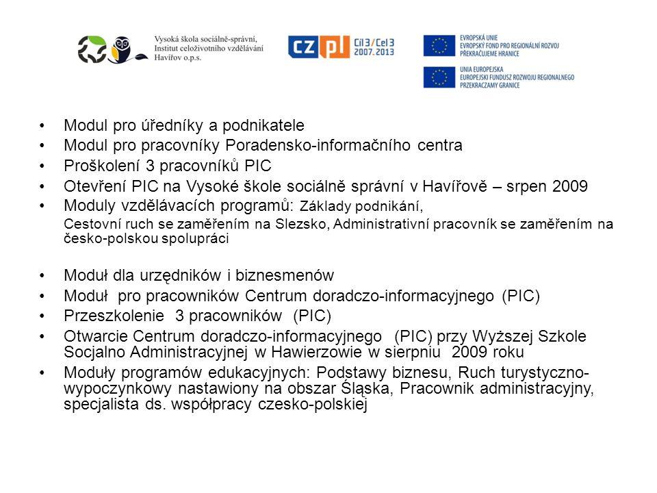 Lektoři v projektu Úvodní konference v polském Bielsku-Biale v září 2009 Fungování PIC Příprava vzdělávacích programů Studijní cesta 6-i členů polského partnera na VŠSS, ICV v listopadu 2009 Výměnná akce – lektor vedoucího partnera na WSA 1.