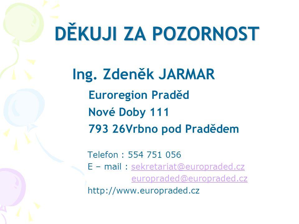 DĚKUJI ZA POZORNOST Ing. Zdeněk JARMAR Euroregion Praděd Nové Doby 111 793 26Vrbno pod Pradědem Telefon : 554 751 056 E – mail : sekretariat@europrade