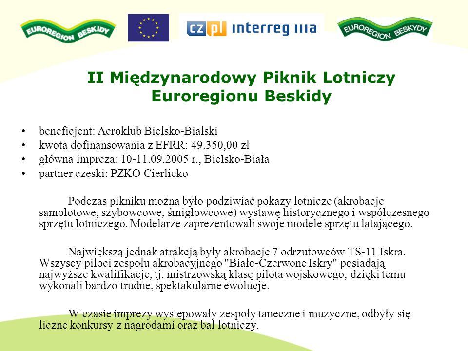 II Międzynarodowy Piknik Lotniczy Euroregionu Beskidy beneficjent: Aeroklub Bielsko-Bialski kwota dofinansowania z EFRR: 49.350,00 zł główna impreza: