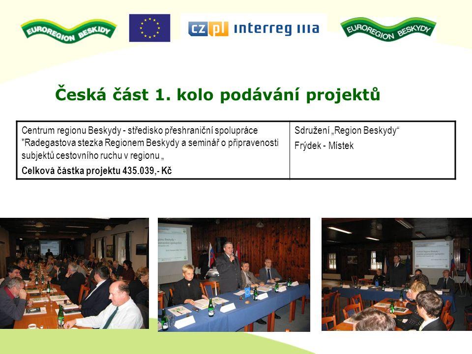 Alokováno na české straně pro 2.kolo: 3.860.596 Kč celk.nákladů projektů Schválené projekty CZ v celkové částce nákladů projektu: 3.405.500 Kč Neschválené projekty: nebyly Projekty 2.