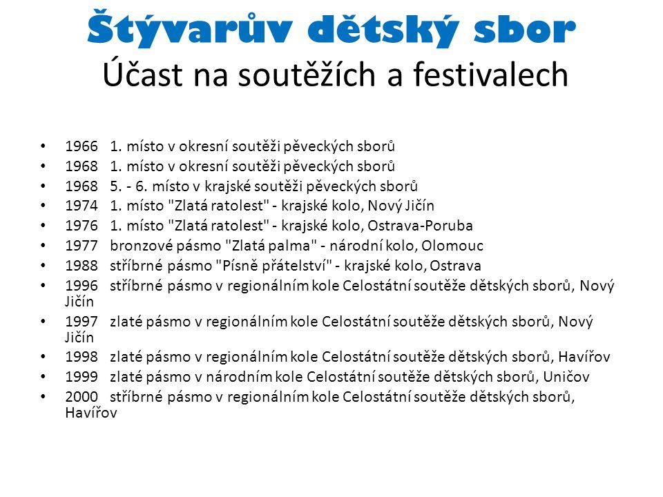 Štývarův dětský sbor Účast na soutěžích a festivalech 1966 1.