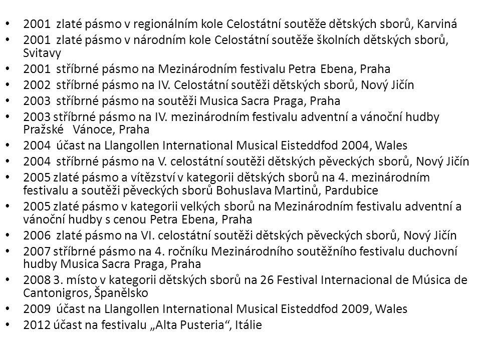 2001 zlaté pásmo v regionálním kole Celostátní soutěže dětských sborů, Karviná 2001 zlaté pásmo v národním kole Celostátní soutěže školních dětských sborů, Svitavy 2001 stříbrné pásmo na Mezinárodním festivalu Petra Ebena, Praha 2002 stříbrné pásmo na IV.