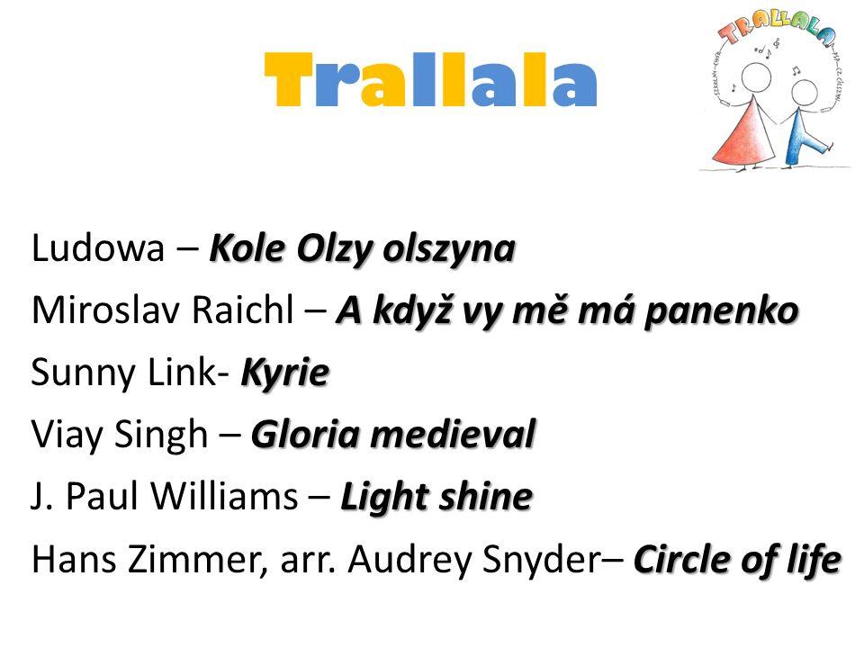 TrallalaTrallala Kole Olzy olszyna Ludowa – Kole Olzy olszyna A když vy mě má panenko Miroslav Raichl – A když vy mě má panenko Kyrie Sunny Link- Kyri