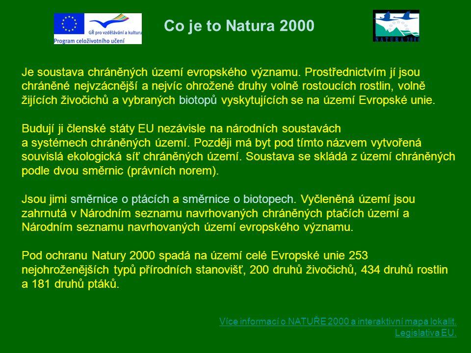 Co je to Natura 2000 Je soustava chráněných území evropského významu. Prostřednictvím jí jsou chráněné nejvzácnější a nejvíc ohrožené druhy volně rost