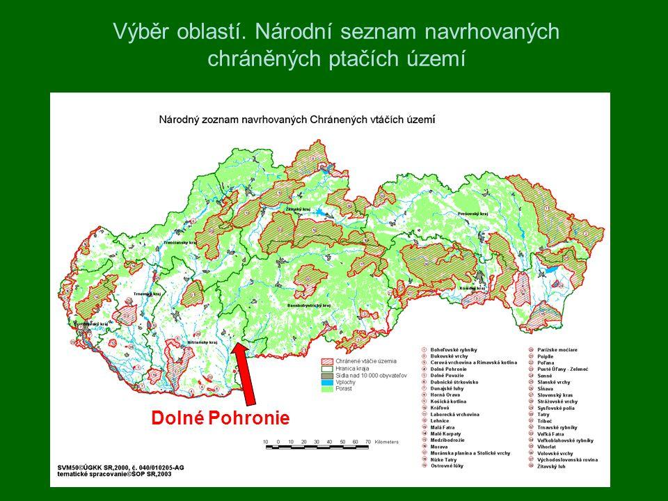 Výběr oblastí. Národní seznam navrhovaných chráněných ptačích území Dolné Pohronie