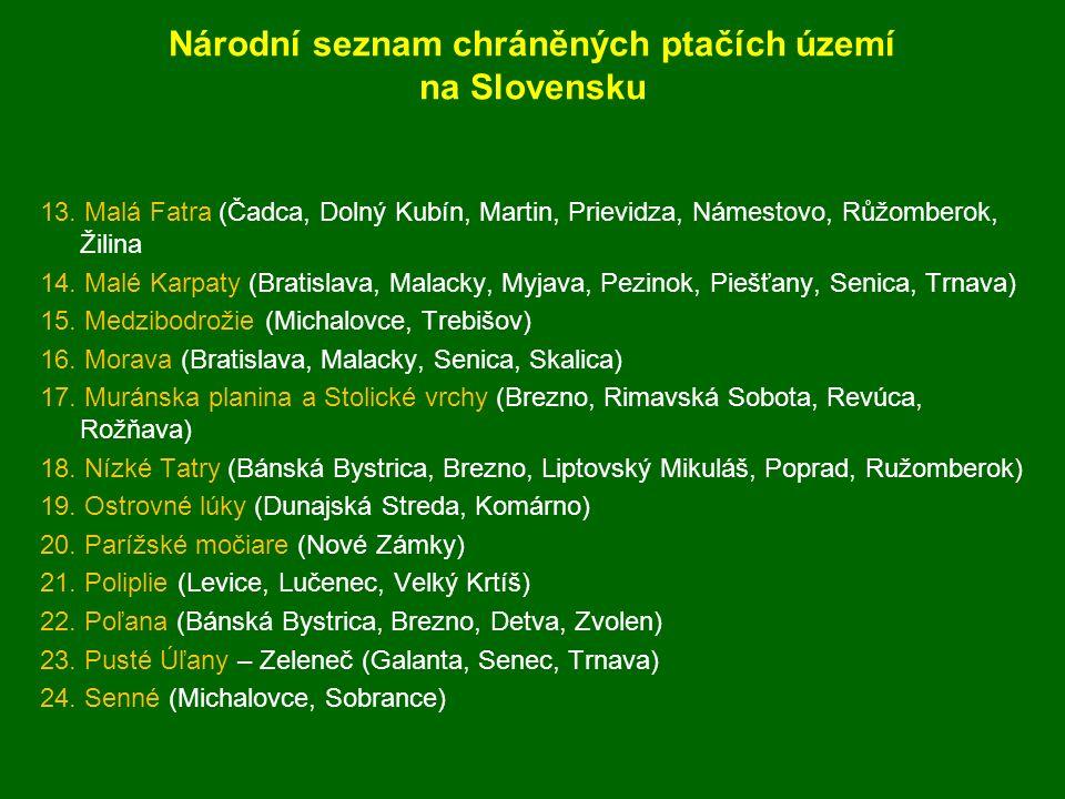 25.Slánské vrchy (Košice, Prešov, Trebišov, Vranov nad Ťoplou) 26.