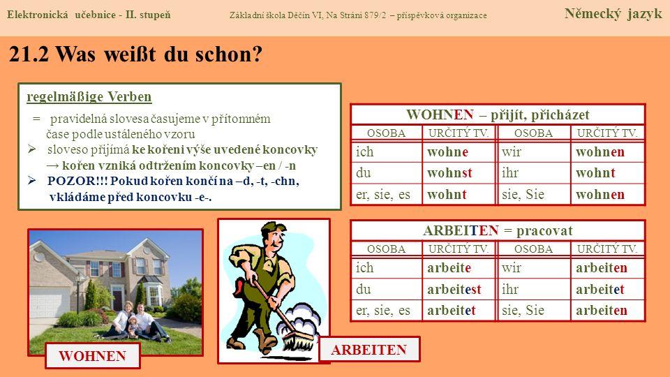 21.2 Was weißt du schon? regelmäßige Verben = pravidelná slovesa časujeme v přítomném čase podle ustáleného vzoru sloveso přijímá ke kořeni výše uvede