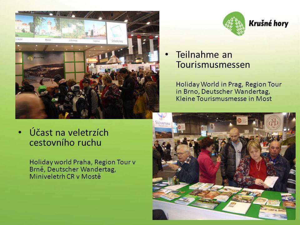 Účast na veletrzích cestovního ruchu Holiday world Praha, Region Tour v Brně, Deutscher Wandertag, Miniveletrh CR v Mostě Teilnahme an Tourismusmessen
