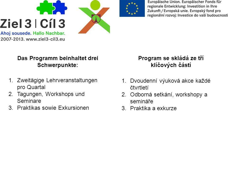Das Programm beinhaltet drei Schwerpunkte: Program se skládá ze tří klíčových částí 1. Zweitägige Lehrveranstaltungen pro Quartal 2. Tagungen, Worksho