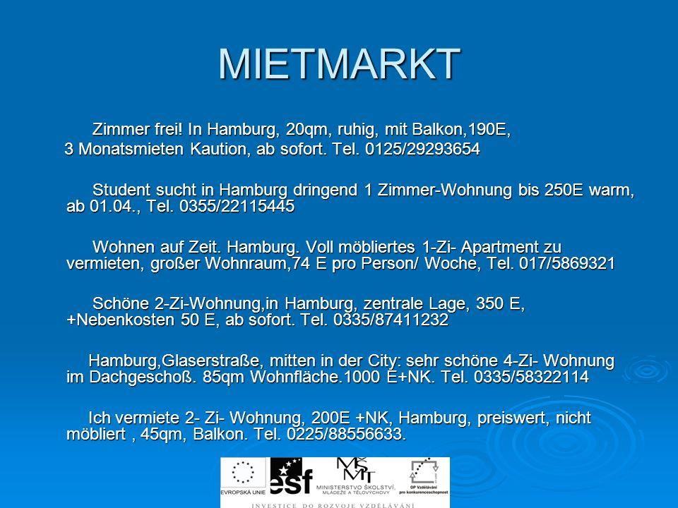 MIETMARKT Zimmer frei.In Hamburg, 20qm, ruhig, mit Balkon,190E, Zimmer frei.