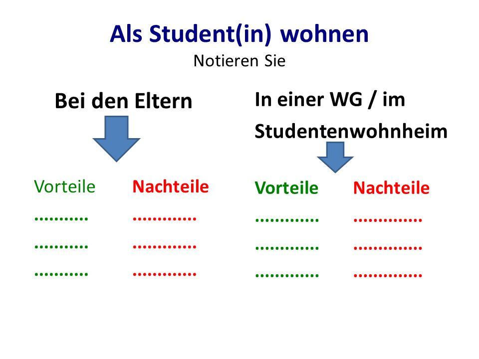 Als Student(in) wohnen Notieren Sie Bei den Eltern VorteileNachteile........................ In einer WG / im Studentenwohnheim VorteileNachteile.....