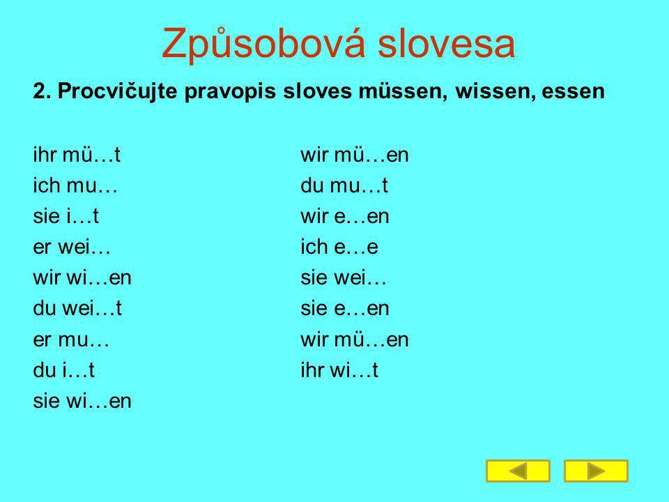 Způsobová slovesa 2.