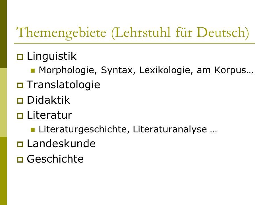 Themengebiete (Lehrstuhl für Deutsch) Linguistik Morphologie, Syntax, Lexikologie, am Korpus… Translatologie Didaktik Literatur Literaturgeschichte, L