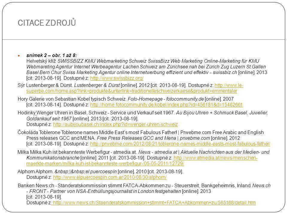 snímek 2 – obr. 1 až 8: Helvetský kříž SWISSBIZZ KMU Webmarketing Schweiz SwissBizz Web Marketing Online-Marketing für KMU Webmareting Agentur Interne