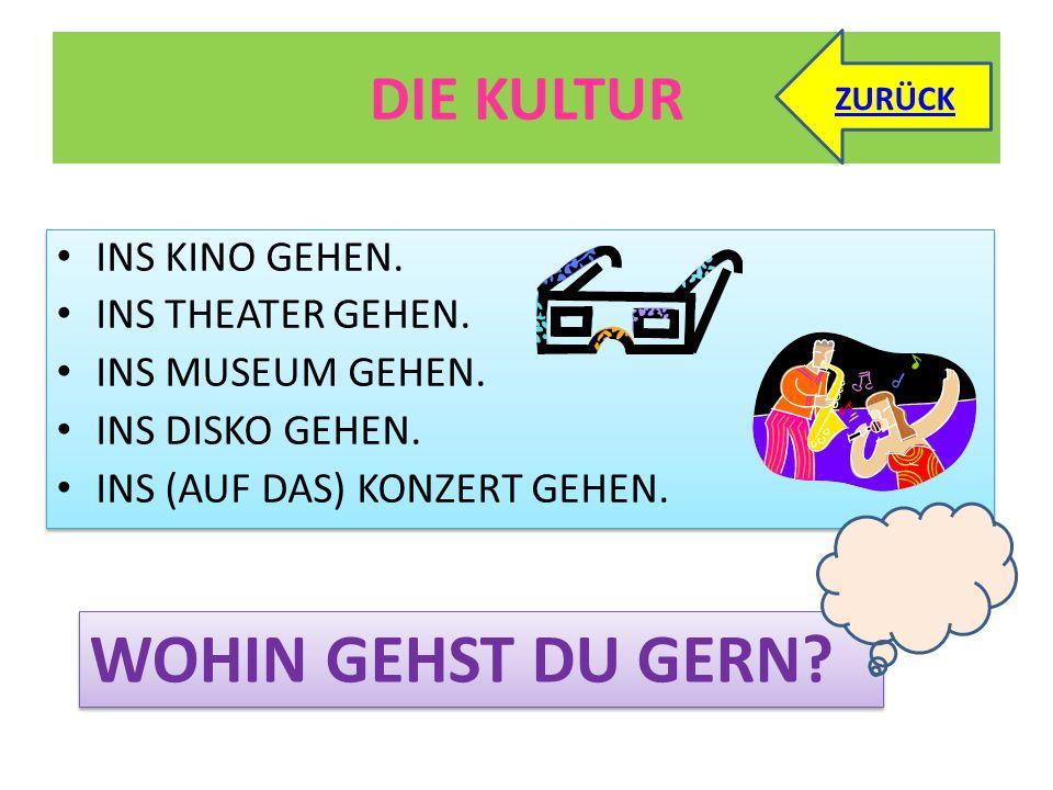 DIE KULTUR INS KINO GEHEN.INS THEATER GEHEN. INS MUSEUM GEHEN.