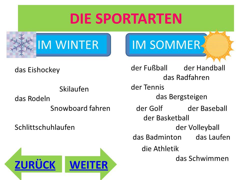 DIE SPORTARTEN ZURÜCK der Fußball der Handball das Radfahren der Tennis das Bergsteigen der Golf der Baseball der Basketball der Volleyball das Badmin