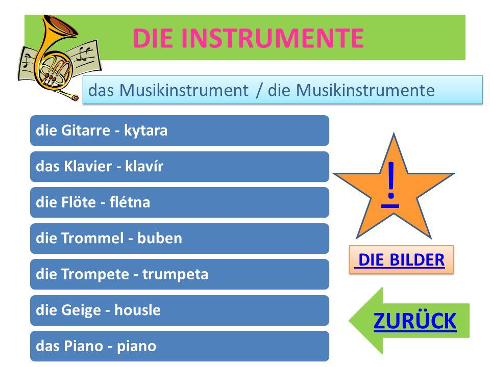 DIE INSTRUMENTE ZURÜCK ! die Gitarre - kytaradas Klavier - klavírdie Flöte - flétnadie Trommel - bubendie Trompete - trumpetadie Geige - housledas Pia