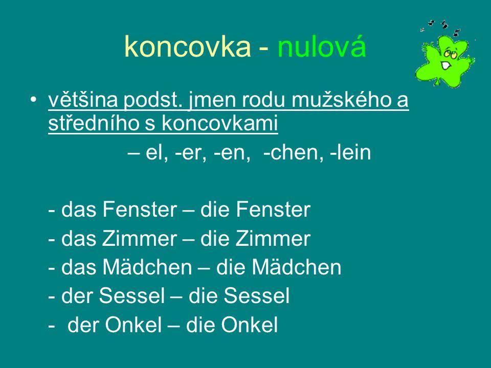 koncovka - nulová většina podst. jmen rodu mužského a středního s koncovkami – el, -er, -en, -chen, -lein - das Fenster – die Fenster - das Zimmer – d