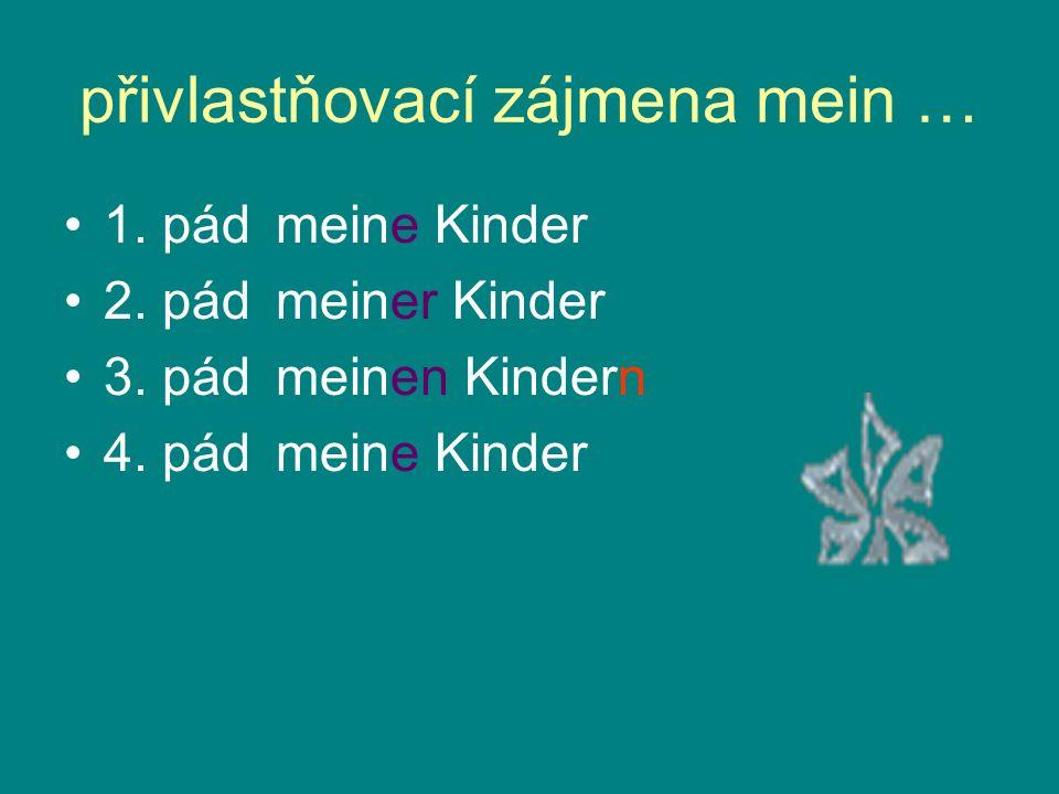 přivlastňovací zájmena mein … 1. pádmeine Kinder 2. pádmeiner Kinder 3. pádmeinen Kindern 4. pádmeine Kinder