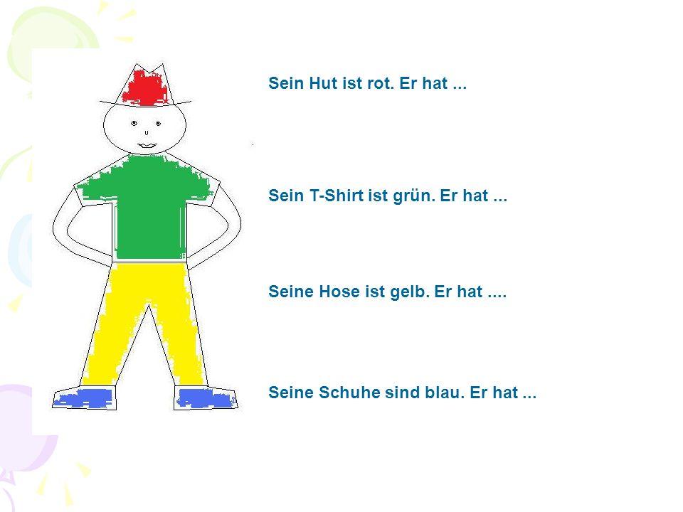 Sein Hut ist rot. Er hat... Sein T-Shirt ist grün.