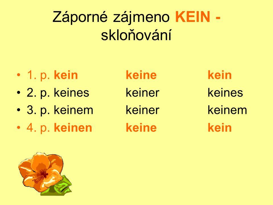 Záporné zájmeno KEIN - skloňování 1. p. keinkeinekein 2. p. keineskeinerkeines 3. p. keinemkeinerkeinem 4. p. keinenkeinekein